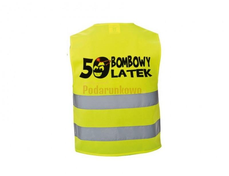 Zbliża się 50-tka Twojego znajomego i szukasz czegoś bombowego? :) Tak więc- właśnie to jest TO! :) Odblaskowa, imprezowa kamizelka z oryginalnym napisem będzie wyjątkowym prezentem.