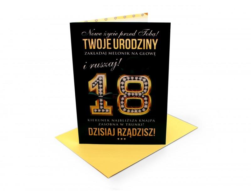 Karnet z wyjątkowymi życzeniami z okazji 18 urodzin.
