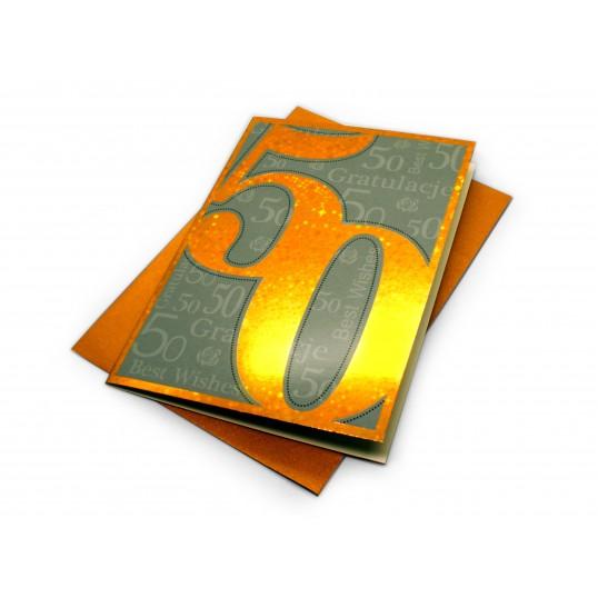 Karnet - 50 urodziny (złoty)