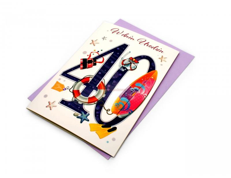Radosny, kolorowy, przebojowy karnet z okazji 40 urodzin dla kobiety.