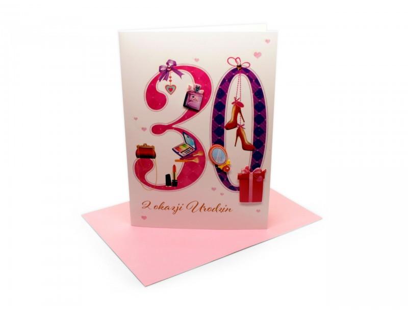 Radosny, kolorowy, przebojowy karnet z okazji 30 urodzin dla dziewczyny.