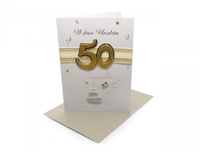 Piękny, elegancki karnet z okazji 50 urodzin to gustowny i symboliczny dodatek do urodzinowego prezentu.