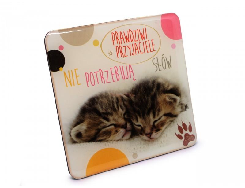 Piękny, symboliczny magnes z wizerunkiem ślicznych kotków jest wspaniałym pomysłem na prezent dla przyjaciela lub dla przyjaciółki.