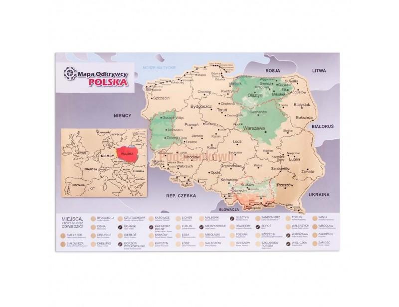 Mapa zdrapka Odkrywcy - Polska