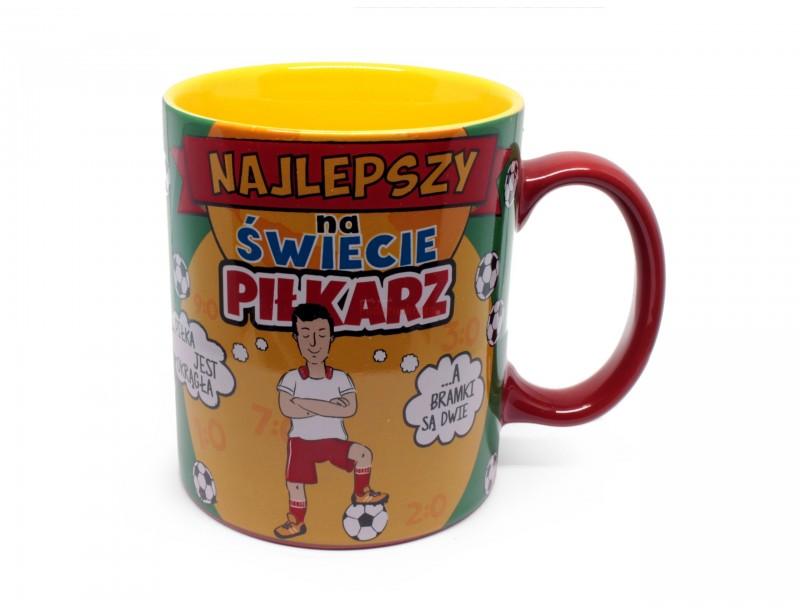 Kolorowy, radosny kubek dla piłkarza. Kubek wykonany jest z porcelany, posiada ozdobny kartonik i jest gotowy do wręczenia wspaniałemu piłkarzowi :)