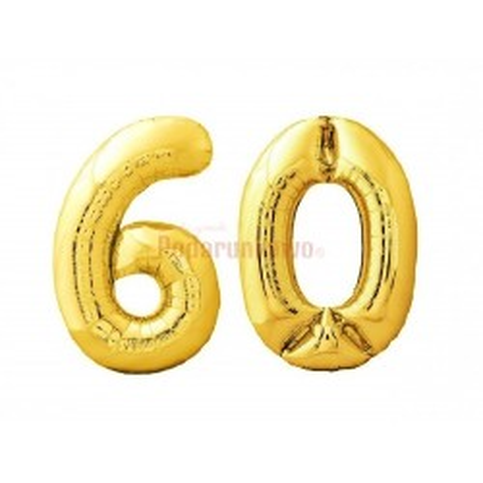 Balony foliowe 75cm - Złote cyfry na 60 (komplet)