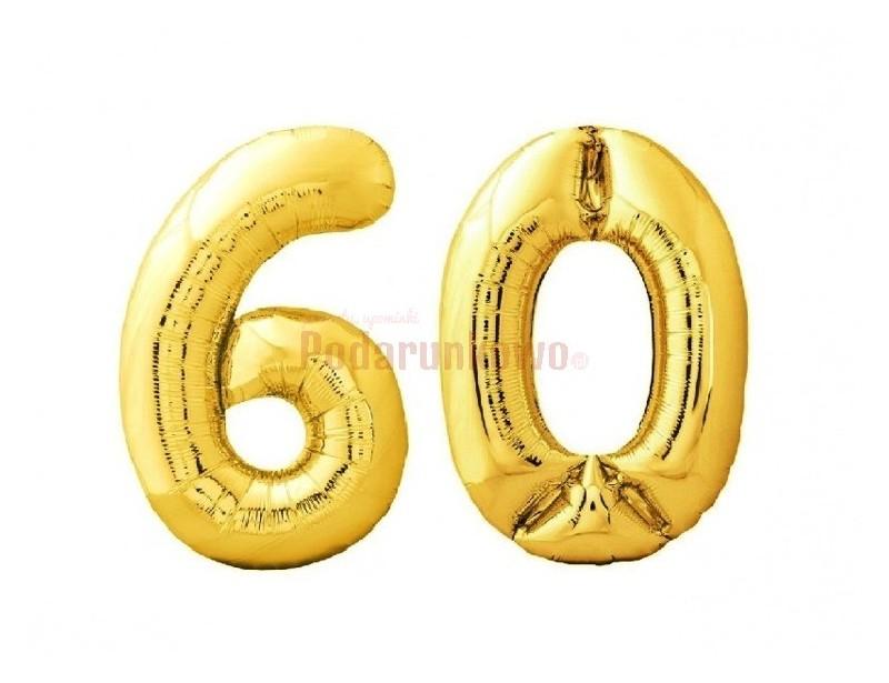 Prezentowane balony foliowe w kolorze złotym są wspaniałą dekoracją urodzinową na 60-tkę