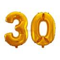 Balony foliowe 75cm - Złote cyfry na 30 (komplet)
