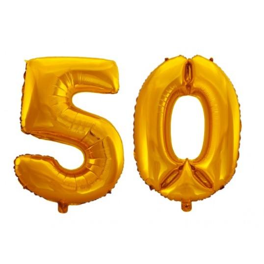 Balony foliowe 75cm - Złote cyfry na 50 (komplet)