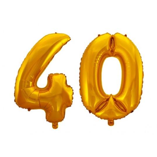 Balony foliowe 75cm - Złote cyfry na 40 (komplet)