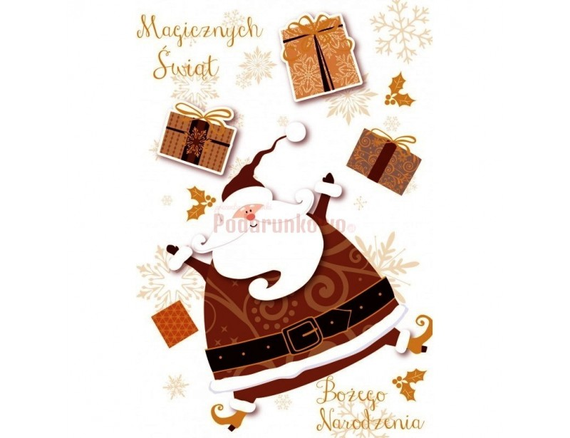 """Piękny, elegancko wykonany, wyjątkowo stylowy karnet świąteczny z życzeniami """"Mikołaj"""" to coś, w co warto zaopatrzyć się na Święta :)"""