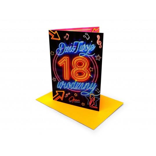 Karnet - 18 urodziny - Neon