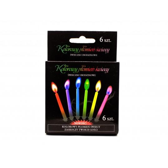 Świeczki urodzinowe z kolorowymi płomieniami (6 sztuk)