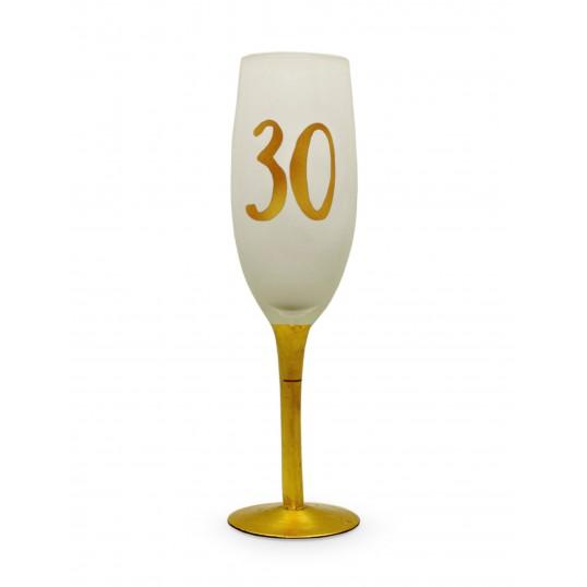 Kieliszek do szampana - Na 30 urodziny (biały)