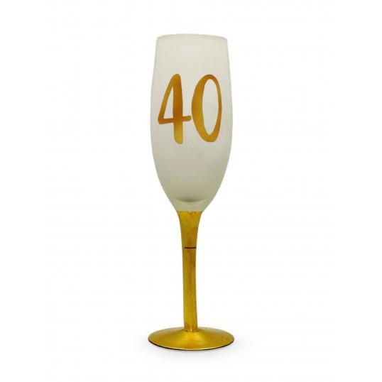 Kieliszek do szampana - Na 40 urodziny (biały)