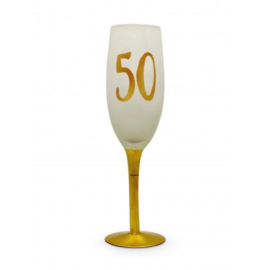 Kieliszek do szampana - Na 50 urodziny (biały)