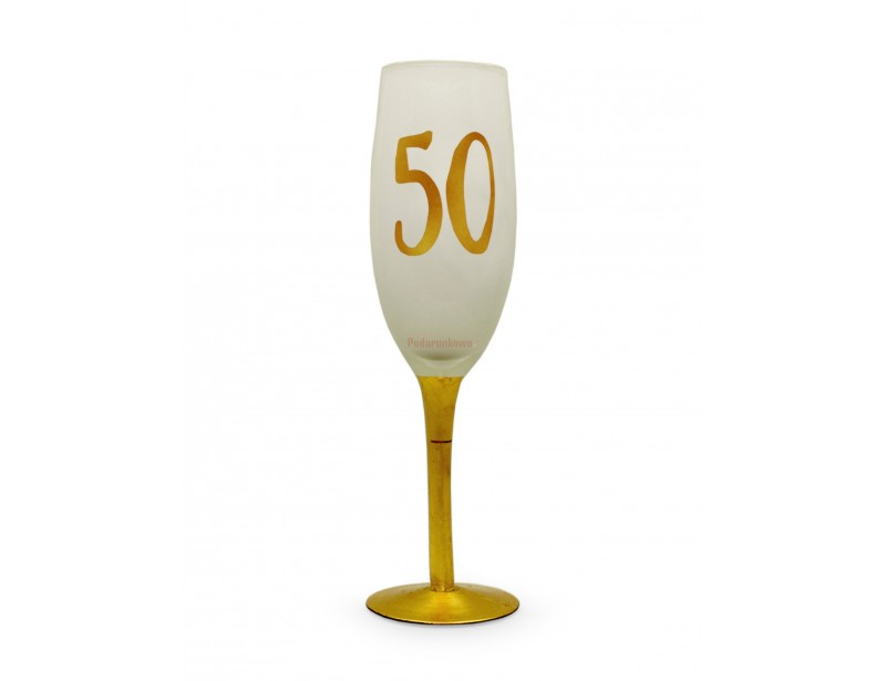 """kieliszek do szampana z cyfrą """"50"""" to idealny prezent na 50 urodziny dla kobiety. Klasyczne piękno w eleganckim wydaniu."""