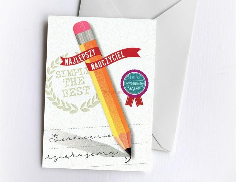Ładna, symboliczna kartka dla nauczyciela to świetny pomysł na prezent z okazji Dnia Nauczyciela lub z okazji zakończenia roku szkolnego.