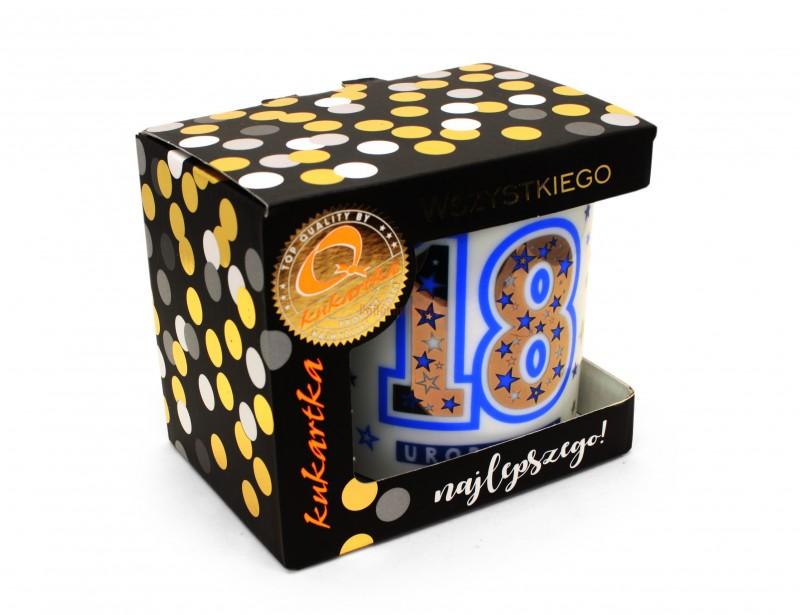 """Porcelanowy kubeczek z cyfrą """"18"""" to fajny prezent dla jedynego takiego 18 stolatka na świecie :)"""