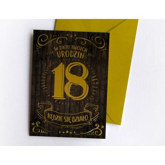 Karnet - 18 urodziny - Gold&Black
