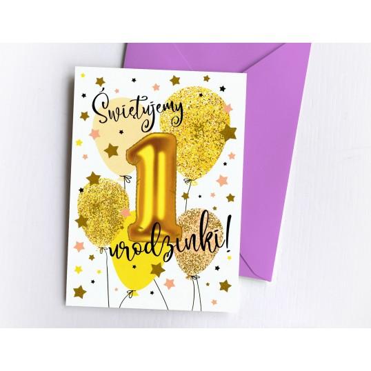 Karnet - Na 1 urodziny (dla dziewczynki) - Baloniki