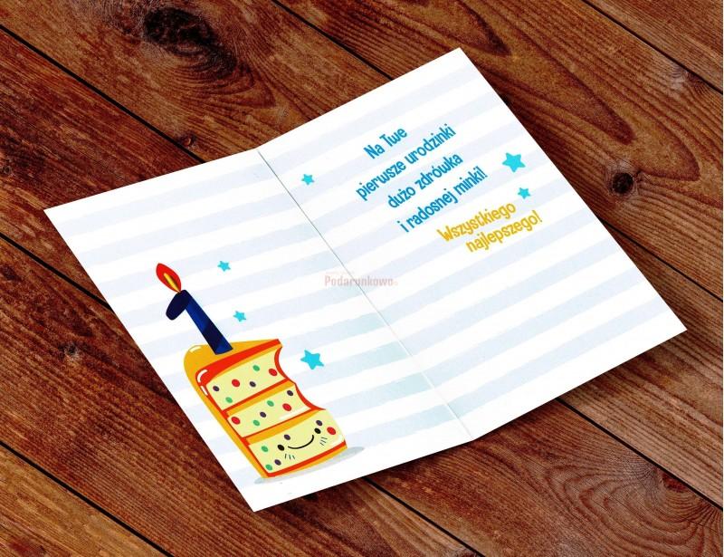 Elegancka i stylowa kartka na 1 urodziny to gustowny i symboliczny dodatek do prezentu urodzinowego na Roczek.