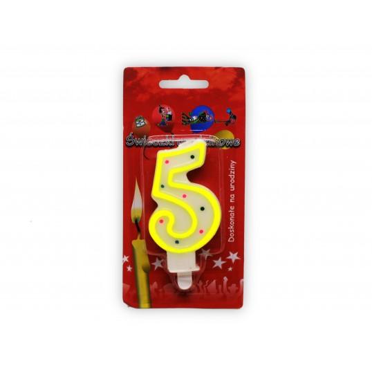 Urodzinowa świeczka cyferka 5
