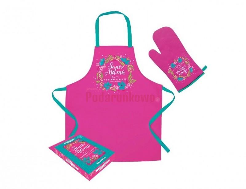 Piękny fartuch wraz z rękawicą kuchenną to komplet, który przyda się każdej prawdziwej Pani Domu :)