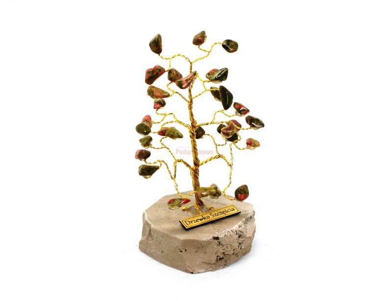 Elegancki prezent dla kobiety z okazji Dnia Kobiet lub z okazji urodzin. Prezentowane Drzewko Szczęścia wygląda zjawiskowo i oryginalnie. Składa się ono z kamyczków Ryolitu i marmurkowego podestu,