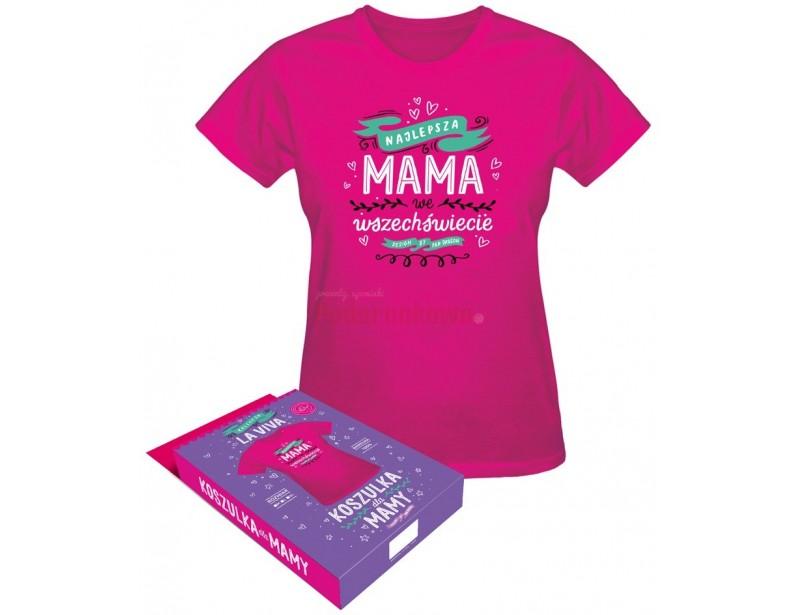 Super koszulka dla super mamy. Koszulka wygląda rewelacyjnie. Jest wykonana z bawełny. Ma śliczny, różowy kolor, przez co każda mama wygląda w niej radośnie i bardzo kobieco :)