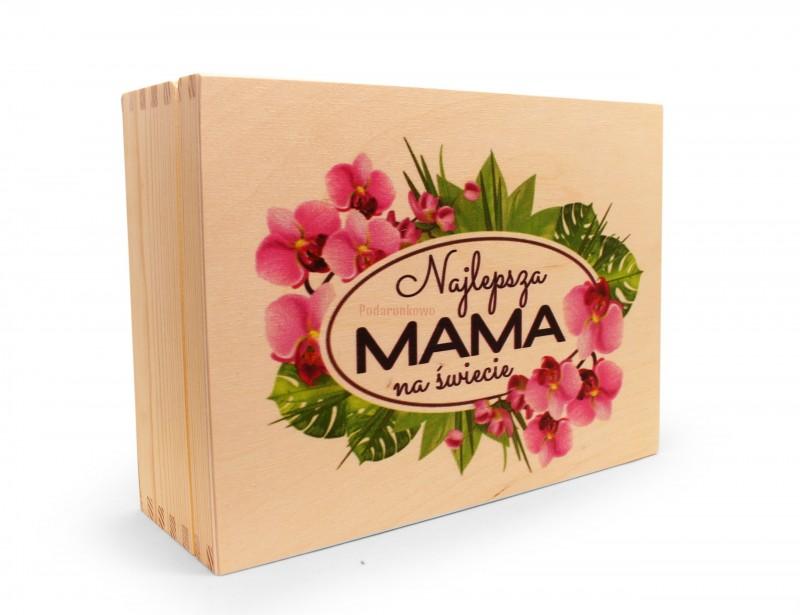 Śliczne, drewniane pudełko na herbatę z sześcioma przegródkami będzie idealnym prezentem z okazji Dnia Mamy.
