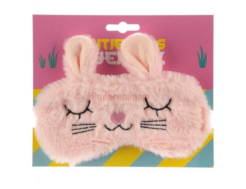 Urocza, kobieca, puszysta opaska do spania z motywem króliczka będzie idealnym prezentem dla każdej słodkiej dziewczyny.