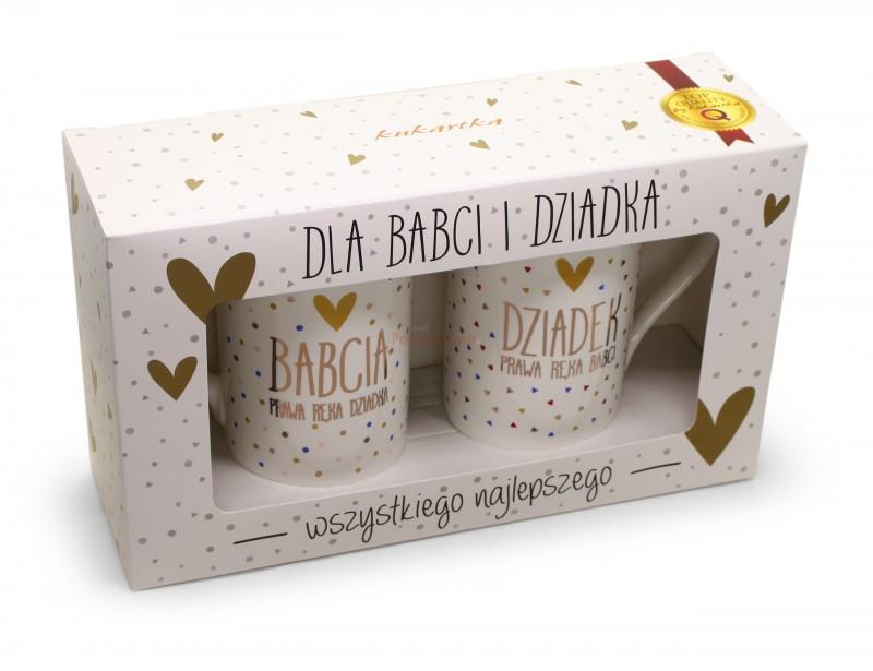 Elegancki i stylowy zestaw dwóch kubków utrzymanych w nowoczesnej pozłacanej kolorystyce, to idealny prezent z okazji Dnia Babci i Dziadka.