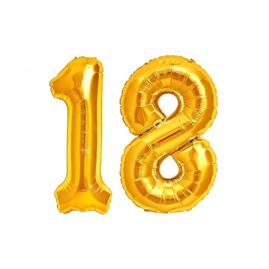 Balony foliowe 75cm - Złote cyfry na 18 (komplet)
