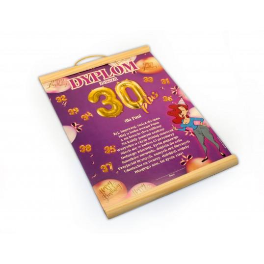 Dyplom na 30 urodziny dla dziewczyny - Happy
