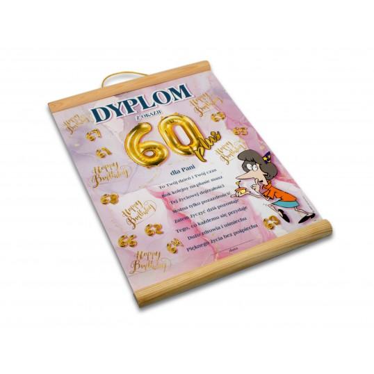 Dyplom na 60 urodziny dla kobiety - Happy