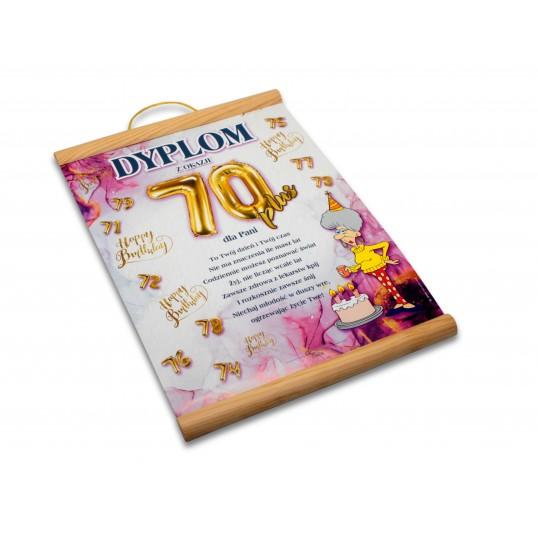 Dyplom na 70 urodziny dla kobiety - Happy