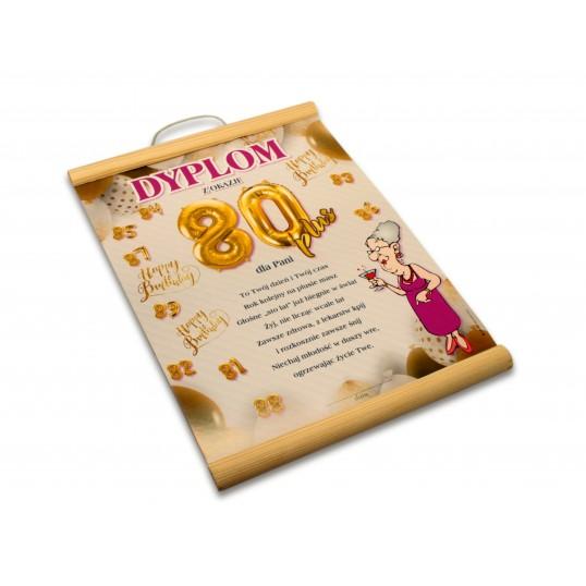 Dyplom na 80 urodziny dla kobiety - Happy