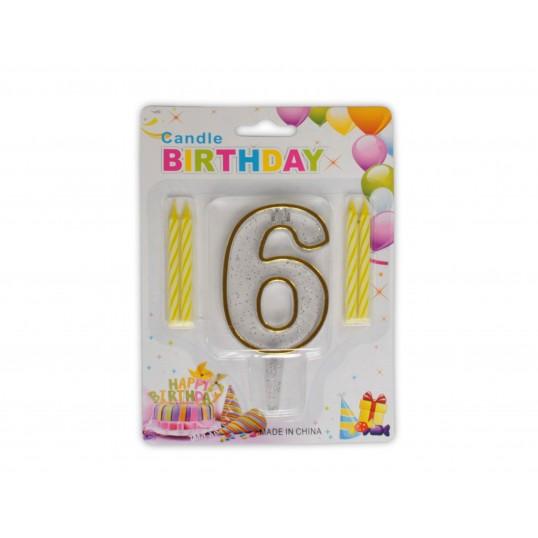 Urodzinowa cyferka 6 + świeczki