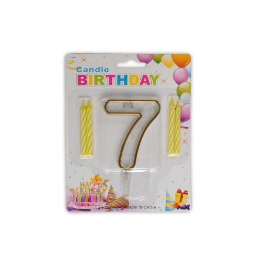 Urodzinowa cyferka 7 + świeczki