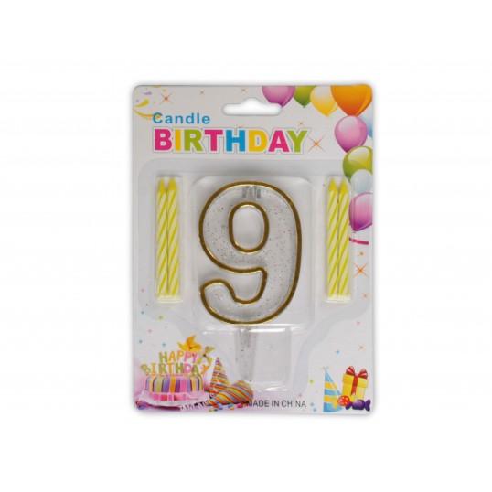 Urodzinowa cyferka 9 + świeczki